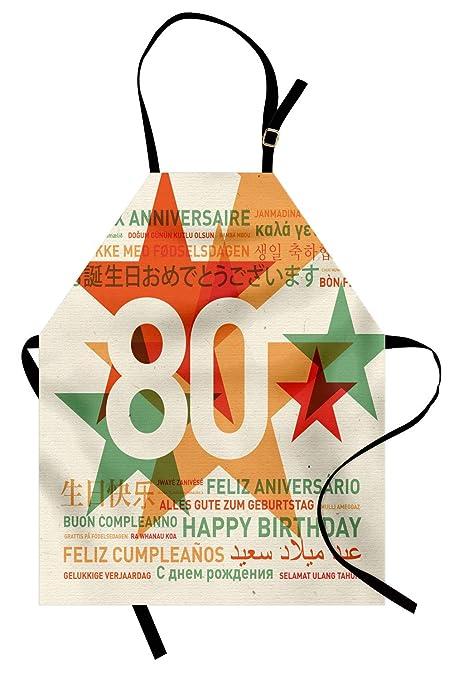 ABAKUHAUS Cumpleaños 80 Delantal de Cocina, Fiesta de 80 Años con Mejores Deseos Feliz Cumpleaños Universal, Apto para Lavadora Colores No Destiñen ...