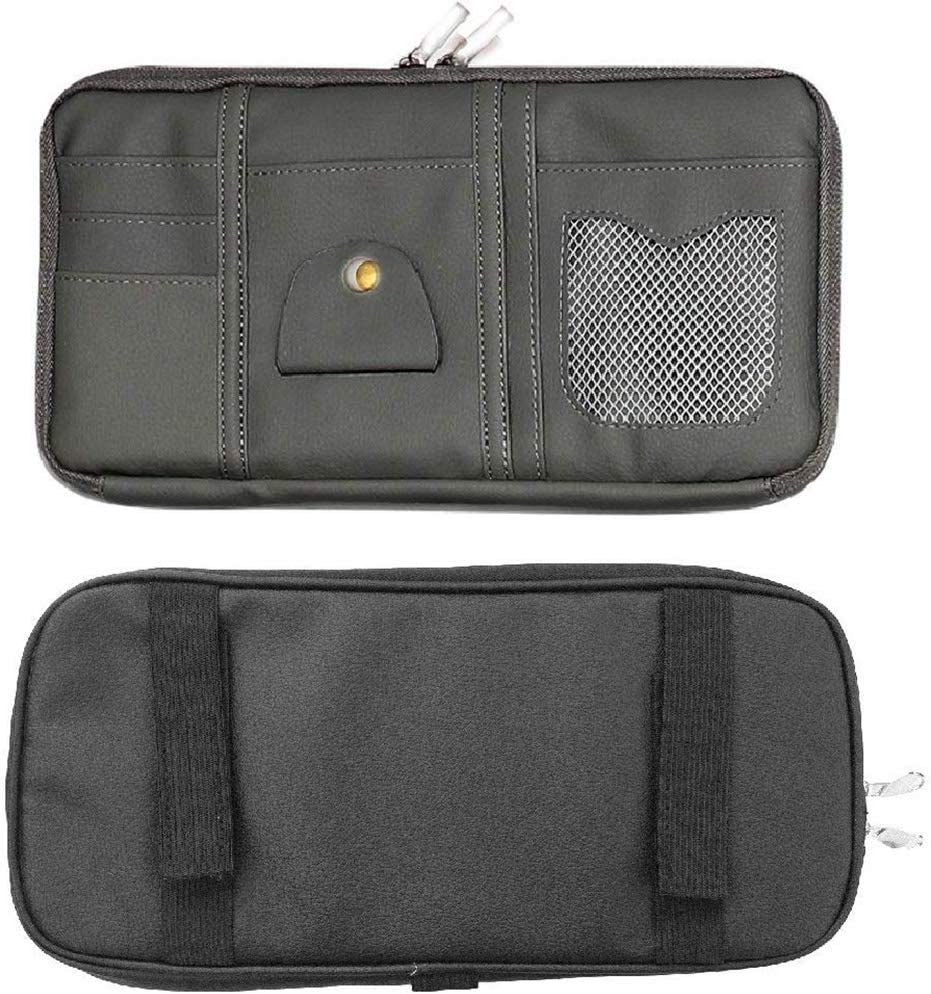 PU Leather Auto Interior Accessories Pocket Organizer with Multi-Pocket with Zipper Net Black ENINFUT Car Sun Visor Organizer