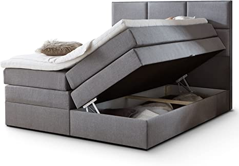 Cama con somier York con cajón, espacio de almacenamiento, tejido gris, espuma fría, sobrecolchón H3, colchón de muelles ensacados, cama doble (gris, ...