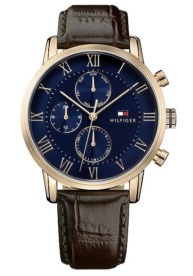 Tommy Hilfiger Reloj Multiesfera para Hombre de Cuarzo con Correa en Cuero 1791399: Amazon.es: Relojes