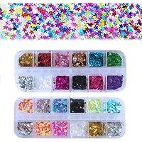 Kalolary 24 Kleur Ster Holografische Nagel Pailletten, Kleurrijke Ssterren Confetti Laser Glitter voor Nagels Glanzend…
