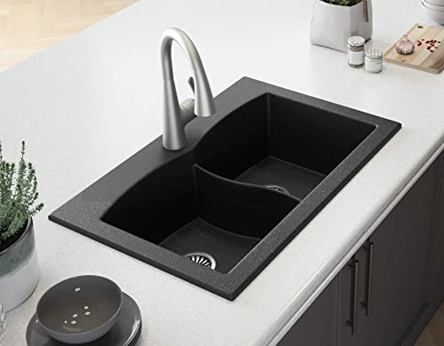 33 Black Kitchen Sink Lavello Subito 200T – Kitchen Sinks Drop In – Double Kitchen Sink – Granite Sink – Drop In Kitchen Sink – Composite Sink – Top Mount – Double Bowl