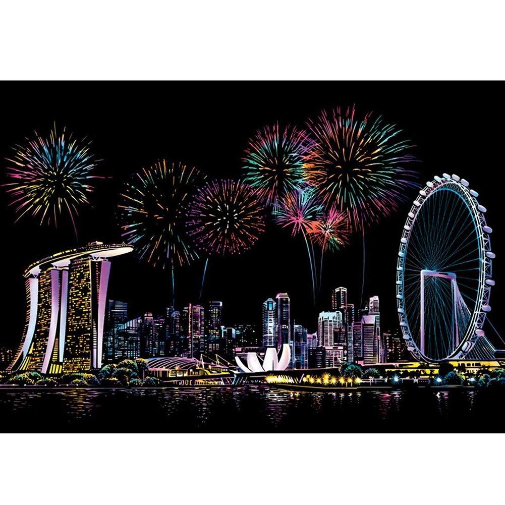 Arcobaleno Scratch Art, Paper Coloreful City Night Scene Paper Gift Regalo Perfetto per Ragazze o Ragazzi- 4 Pezzi (Singapur, Inclusi Gli Strumenti),nero