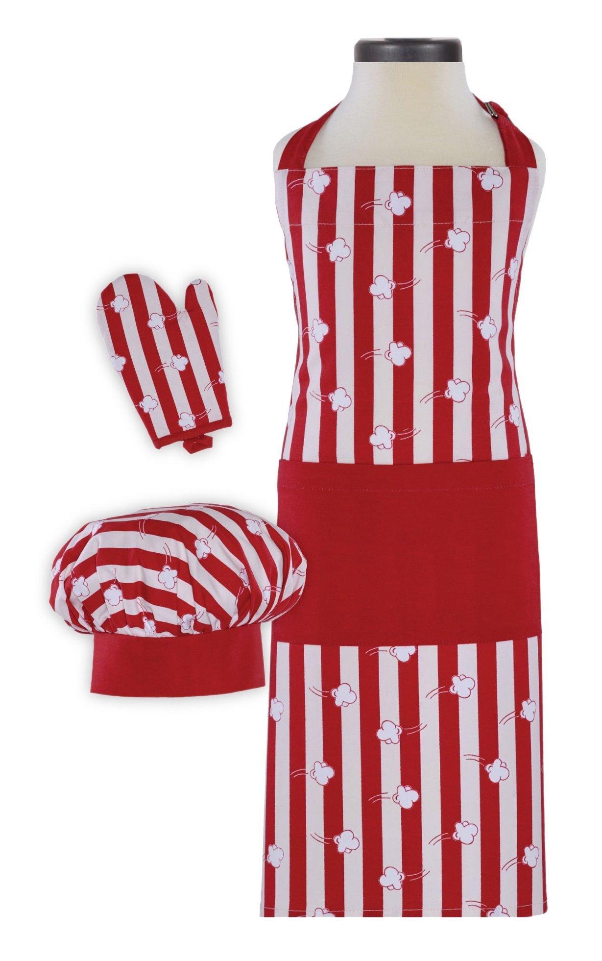 Handstand Kitchen Child's Popcorn Aplenty Print 100% Cotton Apron, Mitt and Chef's Hat Gift Set by Handstand Kitchen (Image #1)