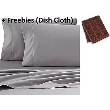 Wamsutta 500-Thread-Count PimaCott KING Sheet Set in GREY + Freebies (Dish Cloth)