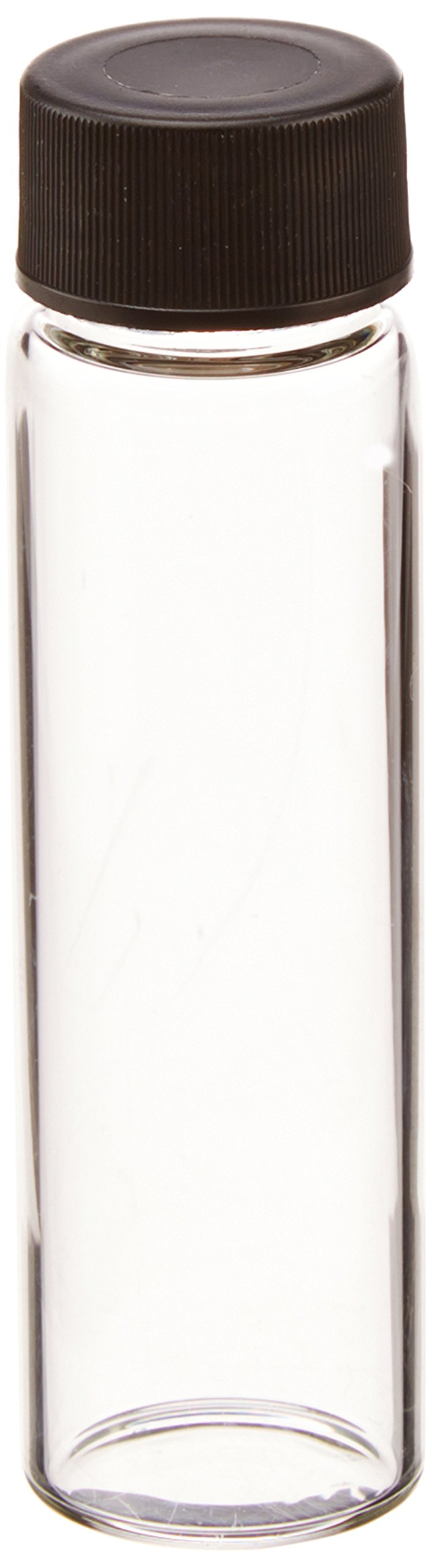 JG Finneran 812020-1965 Borosilicate Glass Dram Sample Vial with Solid Top Cap and PTFE/F217 Septa, Clear, 3 Dram Capacity, 19mm Diameter x 65mm Height (Case of 100)