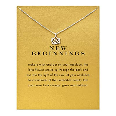 HENGSONG Clavicle Necklace with Message Card Pendant Necklace Choker for Women Jewelry Accessories Gifts Lotus Plated Silver: Toys & Games