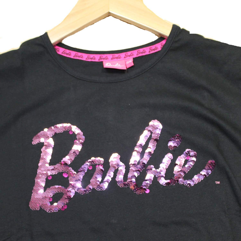 Barbie Ufficale Paillettes reversibili Logo Ragazze//Bambine Maglietta