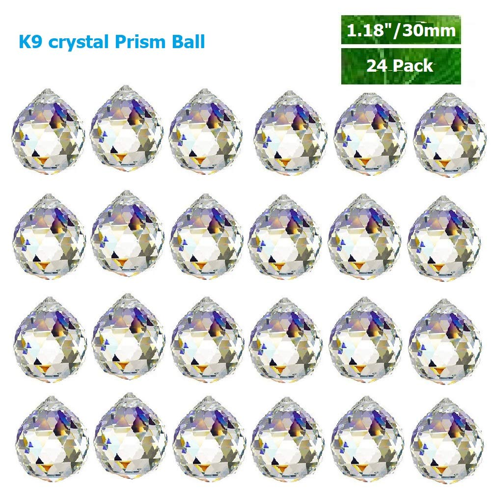 Toowood K9 Crystal Ball Drop Prisms Optical Glass Triangular Prism Pyramid for Photography Decoration Birthday Gift Teaching (PrismBall 1.2''/30mm 24 Pack)