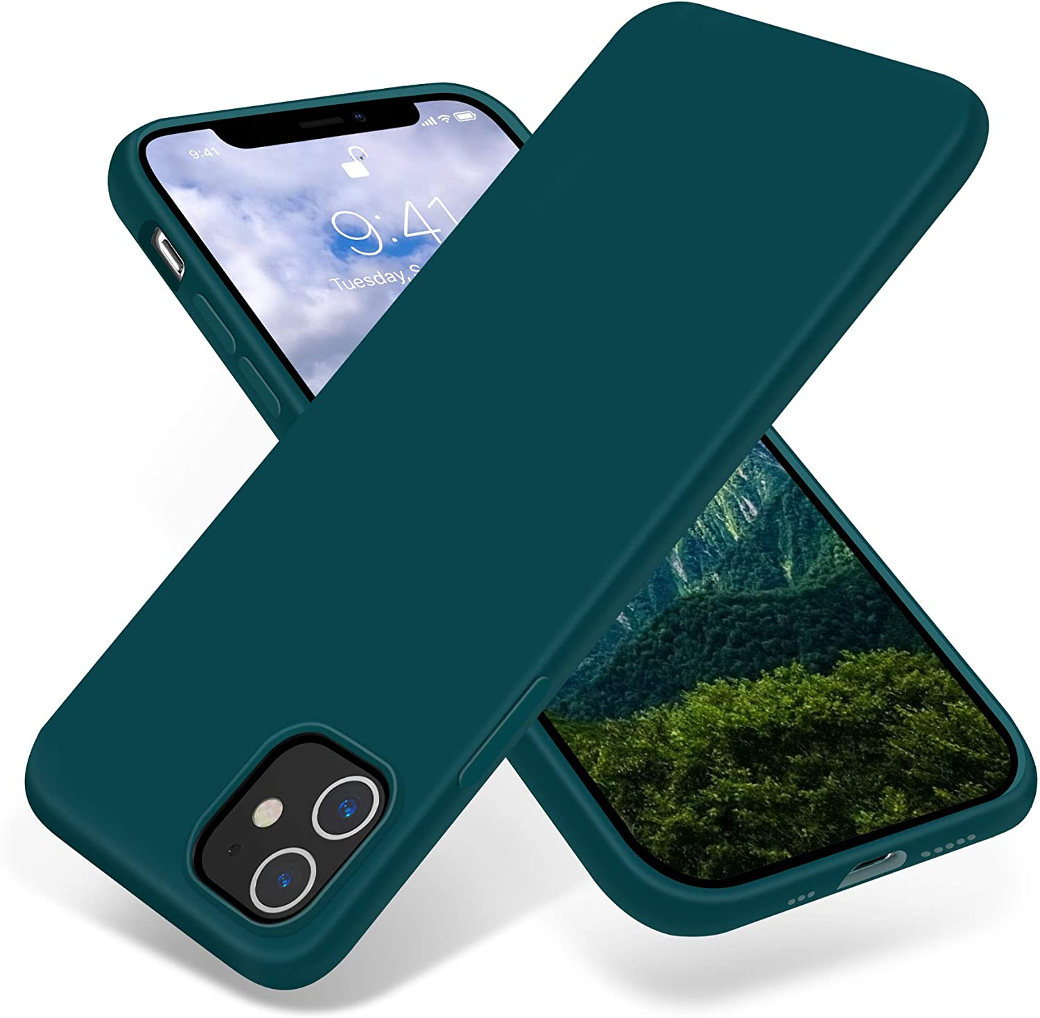 JELE Compatible with iPhone 12 Case and iPhone 12 Pro Case 6.1 inch(2020),Premium Soft Liquid Silicone Rubber Full-Body Protective Anti-Scratch Shockproof Bumper Case (Teal)