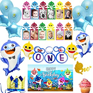 Baby Shark Party Supplies First 1st Birthday for Boy, Decorations with Blue Baby shark Balloons, High Chair Banner, 3x5 ft Baby Shark Backdrop, Baby Shark Cake Topper Theme for Boys by Party Penny