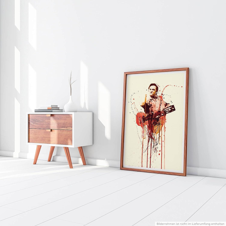 Paul Sinus Art Johnny Cash 90x60cm auf Leinwand gespannt fertig Zum aufh/ängen