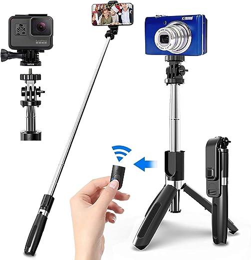 عصا سيلفي عالمية محمولة 40 بوصة من بيولينغ، حامل ثلاثي عصا سيلفي مع جهاز تحكم لاسلكي، حامل ثلاثي القوائم للهاتف المحمول مونوبود صغير قابل للتمديد لكاميرا جو برو وهواتف آندرويد أيفون
