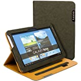Juppa® Executive Suede Finish Design Wallet Case with Premium Interior Leather Finishing includes Stand Feature, Card Holding Slots, Screen Protector, Carry Strap and Stylus Pen for Samsung Note 10.1 GT-N8000, GT-N8010 Tablet (Dark Green / Khaki)