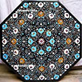 Black Octagon Marble 36'' Luxury Coffee Table For Someone Special Inlay Royal Art & Very Fine Work