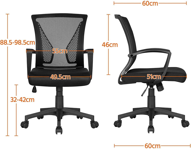 LLDKA Chaise de Bureau à roulettes Pivotante Fauteuil pour Ordinateur en Maille Mesh Hauteur Réglable Incliable,Orange Green