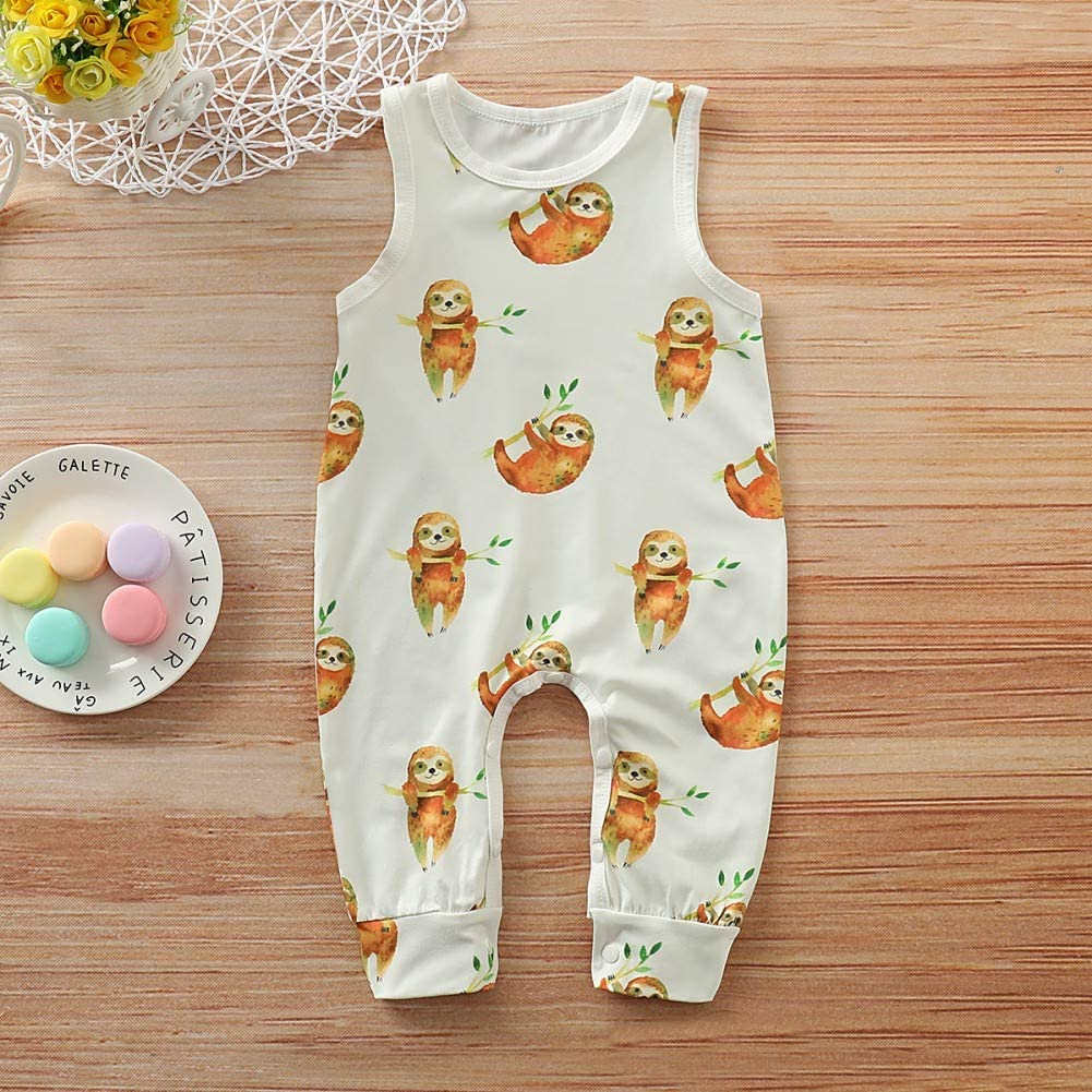 Blaward Infant Rompers Baby Boys Cute Animal Print Jumpsuit Outfits Pretty Girls Bodysuit Newborn Pajamas Summer Sleeveless Clothes