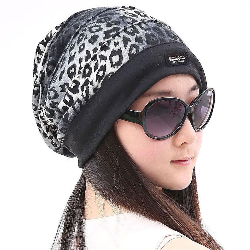 L'autunno inverno turbante femmina Hat leopard cappuccio di testa doppio cappello pile per le donne in stato di gravidanza in Baotou sulla chemioterapia. Testa 54cm-59cm,tutti,elastico grigio