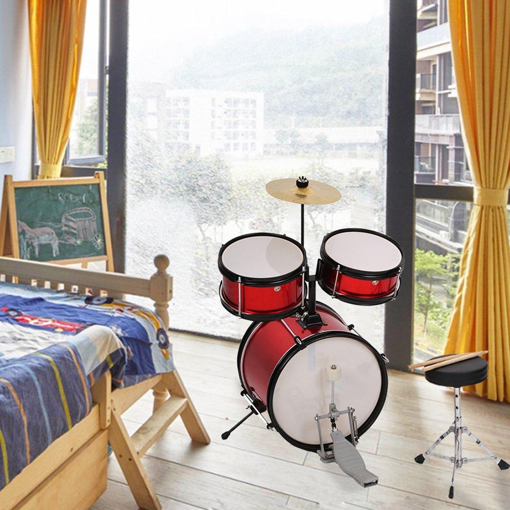 BestMassage Drum sets Junior Kids 12 inch Adjustable Children Drum with Metallic Red