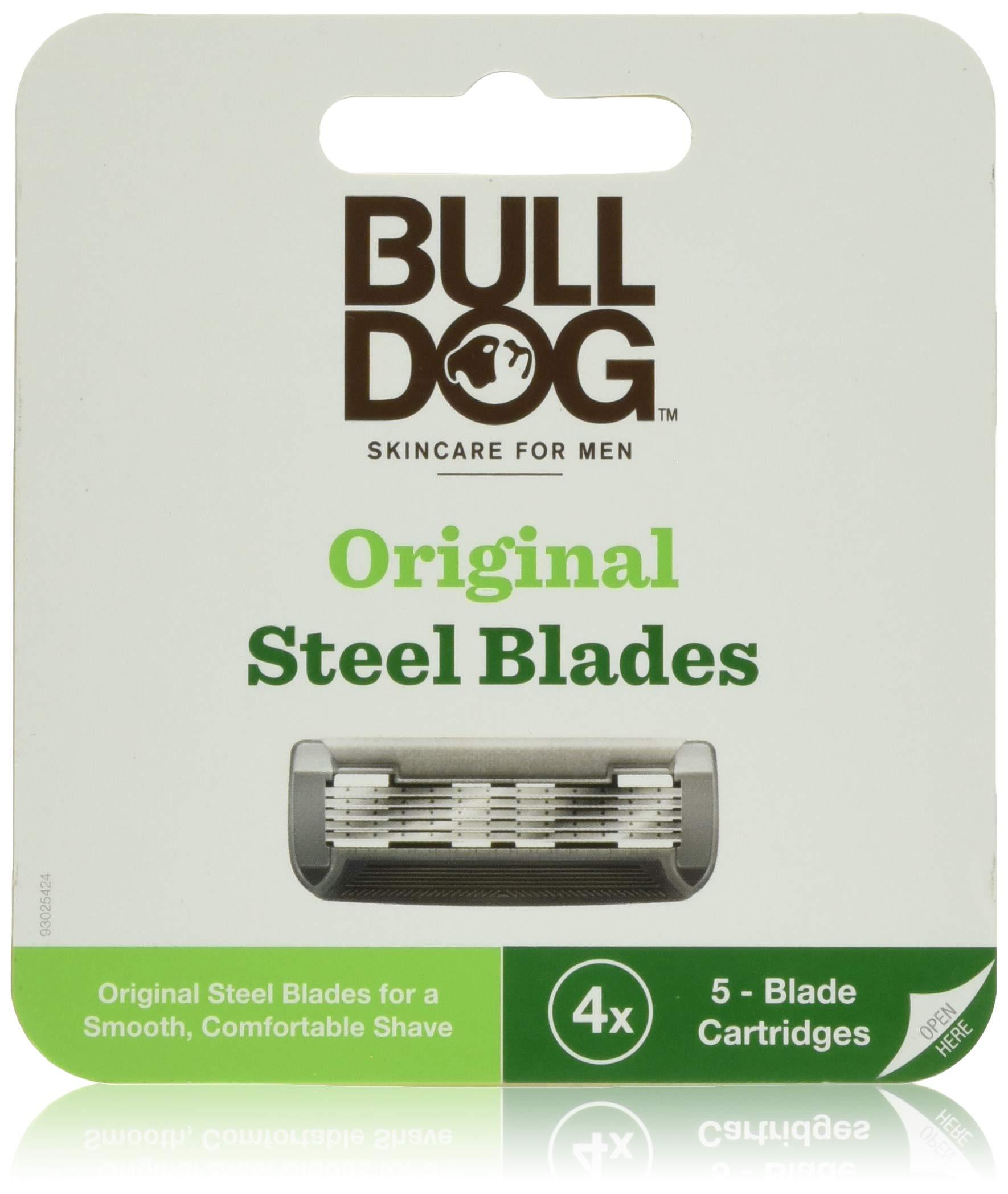Bulldog Mens Skincare and Grooming Original Razor Blades Refills for Men, 4 Count