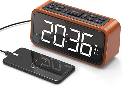 Alarm Clock, Jelly Comb Wooden Large LED Digits Alarm Clock with USB Charging Port, FM Radio, Sleep Timer, Adjustable Brightness, Dimmer, Easy Snooze for Bedroom Desk