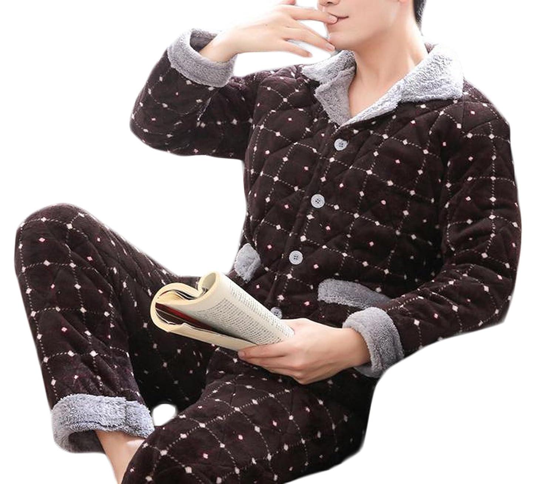 Wholesale Cruiize Men's Winter Flannel Warm Button Front Sleepwear Pajama Set