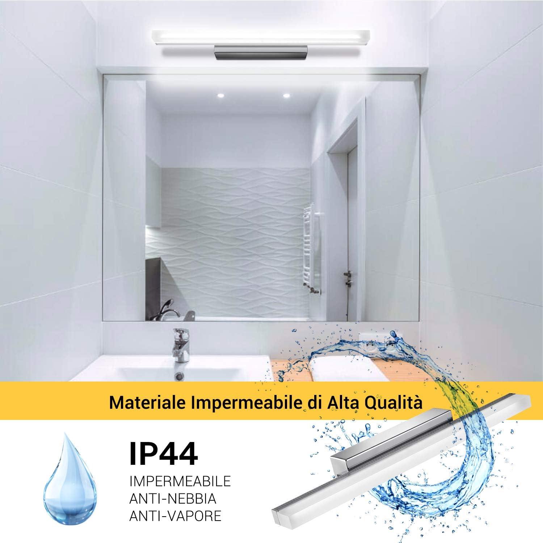 Kohere Lampada da Specchio LED per Bagno 12W 50cm 1000LM IP44 Lampada Armadio Applique da Parete 6000K Bianco Freddo 220V