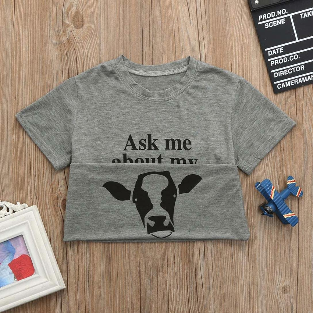 b0faf685 Amazon.com: Sagton Summer Ask me About My moo Cow, Toddler Kids Baby Boys  T-Shirt Short Sleeve Tops Tees: Clothing
