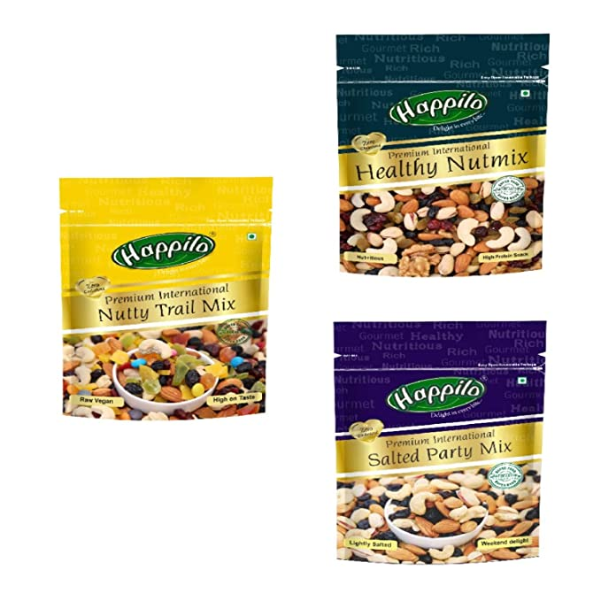 Happilo Premium Dry Fruits Combo 9 (Trail Mix, Nut Mix, Party Mix) Pouch, 600 g