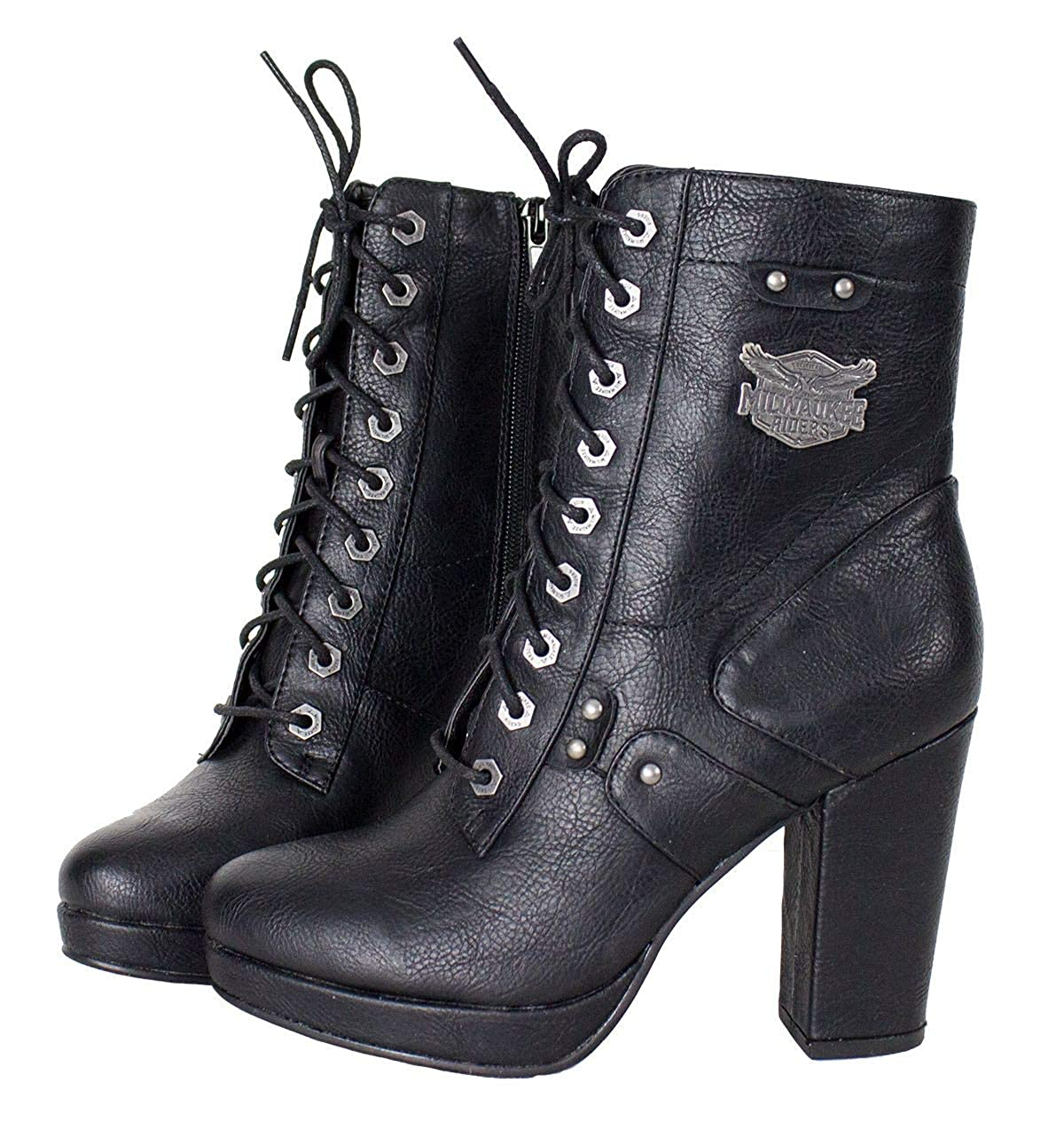 2da88d309b Amazon.com | Milwaukee Riders Womens Milwaukee Leather Zippered Chunky Heel  Boots | Boots