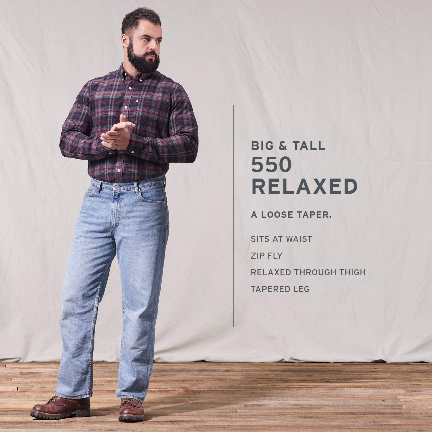 eccf09821c Amazon.com  Levi s Men s Big and Tall 550 Big   Tall Relaxed Fit Jean   Clothing