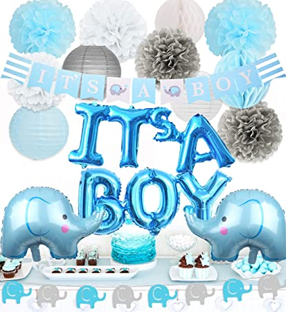 Baby Shower Boy Decoracion.Elephant Baby Shower Decorations Boy Elephant Foil Balloons Garland Banner Baby Elephant It S A Boy Banner For Baby Boy Shower Decorations Set