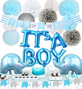 Elephant Baby Shower Decorations Boy Elephant Foil Balloons Garland Banner Baby Elephant It S A Boy Banner For Baby Boy Shower Decorations Set