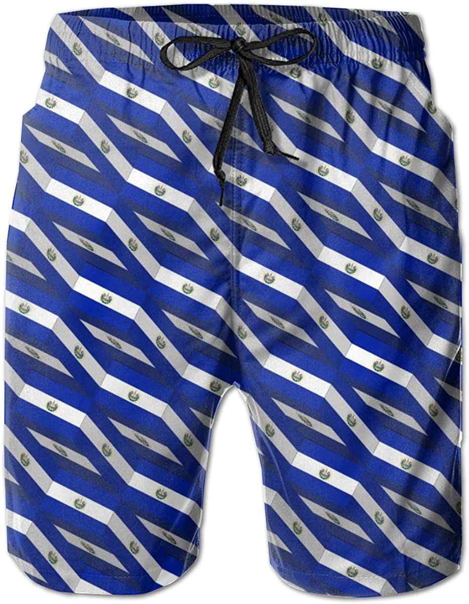 Mens Swim Trunks Quick Dry Summer Holiday Beach Shorts with Mesh Lining El Salvador Flag 3D Art Pattern Beachwear