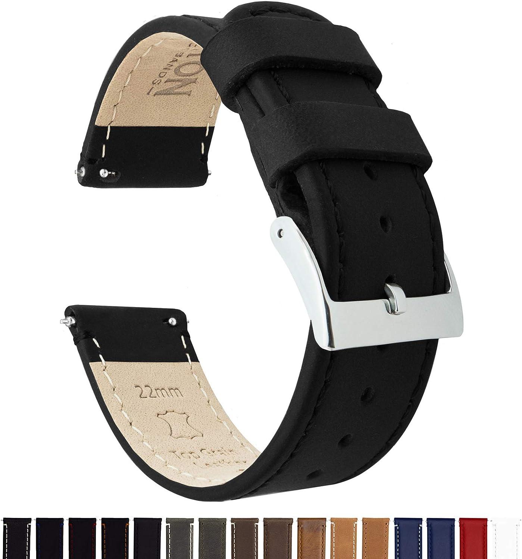 BARTON WATCH BANDS Bracelet De Montre en Cuir Libération Rapide - Choisissez La Couleur Et La Taille Cuir Noir / Coutures Noires