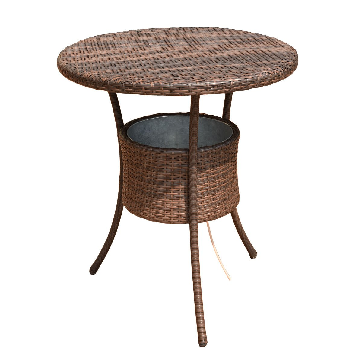 COSTWAY 31.5 7.9-Gal Cool Bar Rattan Style Outdoor Patio Party Deck Pool Cooler Table with Ice Bucket, Brown