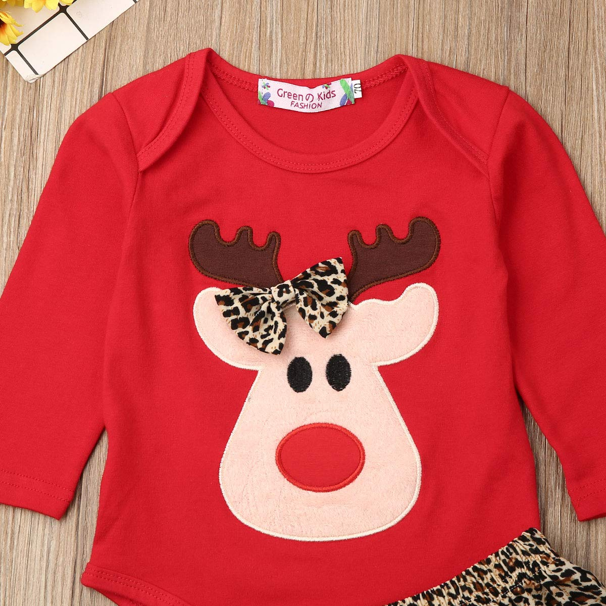Neugeborene Babies M/ädchen My First Christmas Outfits Tutu Prinzessin Strampler Cartoon Hirsch Tops Leopard Mini Rock