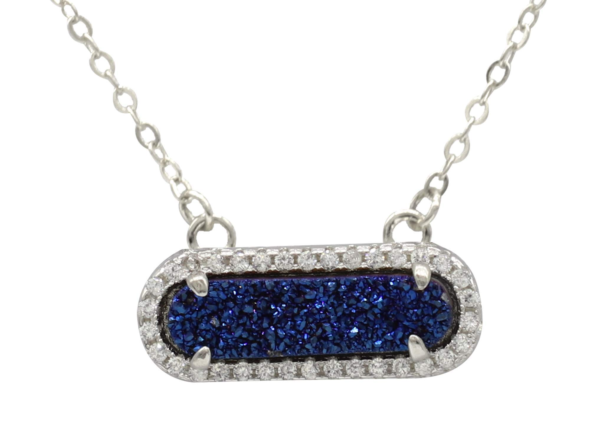MAQ Queen Collection Druzy Necklace - Natural Titanium Blue Drusy for Women by M-A-Q