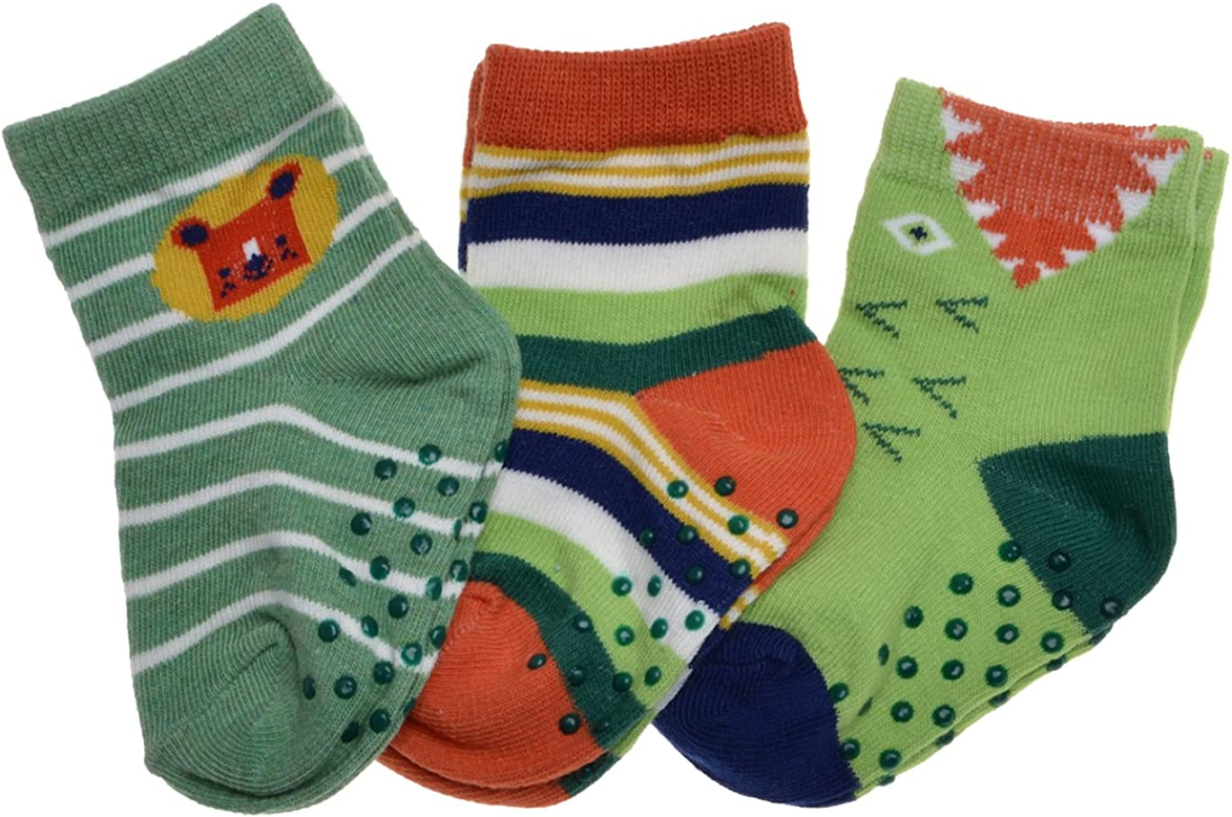 3 pairs of Bear Stripe /& Croc Baby socks with Grippers