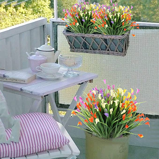NAHUAA 6 Piezas Flores Artificiales de Lirio de Flores Plantas de Flores Falsas Multicolores Jardín Interior al Aire Libre Hogar Cocina Oficina Mesa Centros de Mesa Arreglos Decoración: Amazon.es: Hogar