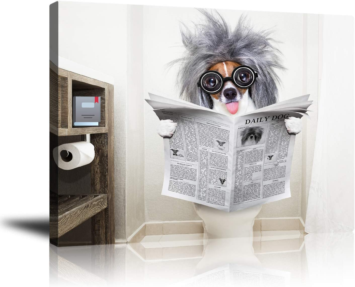 "Abstrsct Pictures Wall Art for Bathroom Decor, Print Funny Dog Reading Newspaper Canvas Wall Posters Painting Artwork Home Decorations Framed for Living Room Bedroom Dining Room 16""X20"" Ready To Hang"