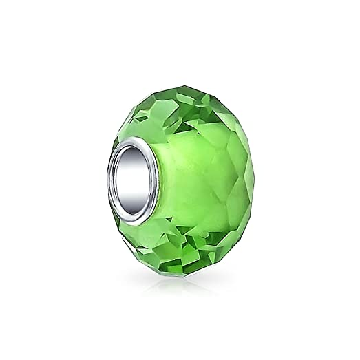 Bling Jewelry 925 Silver Simulated Peridot Glass Faceted Bead Charm ffh56naQg3