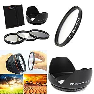 58mm UV CPL ND4 Circular Polarizing Filter Kit Set + Lens Hood For Canon Camera
