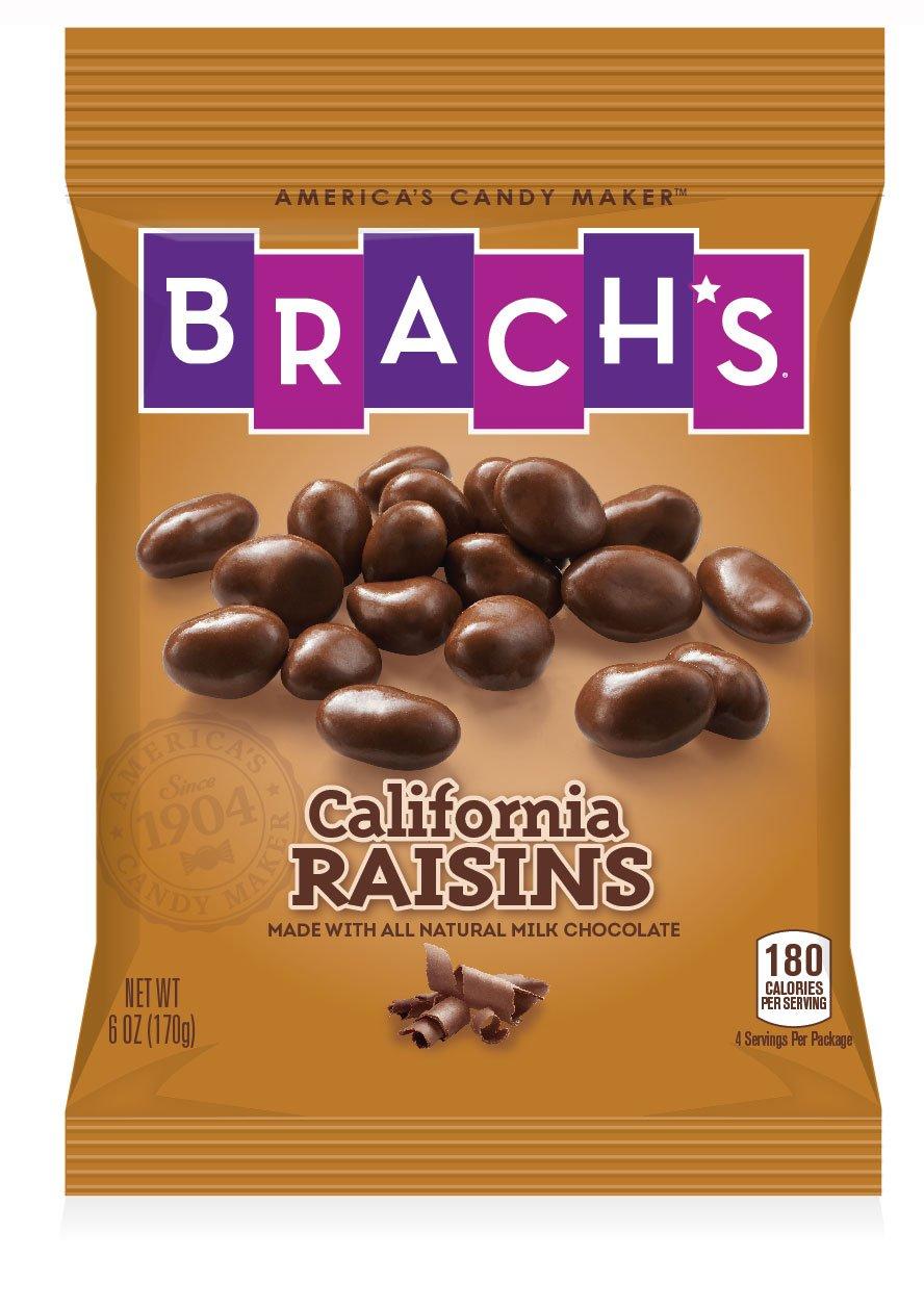 Brach's Chocolate Covered Raisins, 6 Ounce Bag, Pack of 12