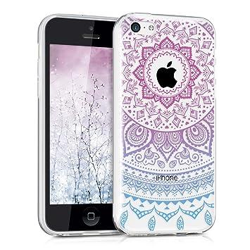 kwmobile Funda compatible con Apple iPhone 5C - Carcasa de TPU y diseño de sol hindú en azul / rosa fucsia / transparente