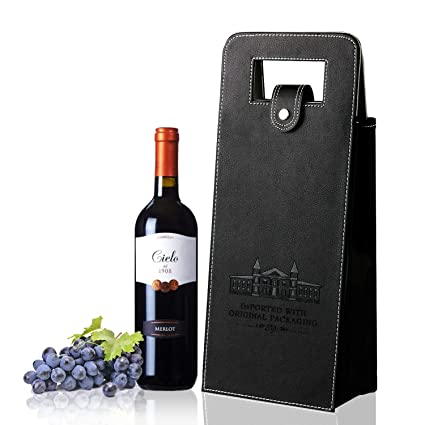 Sunfuny Wine Gift Bags Upscale Resuable Leather Wine Tote Bag,Double Layered Leakproof Protective 2