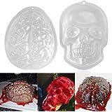 PBPBOX 2 Pack Halloween Brain Gelatin Mold Plastic Zombie Brain Jello Mold for Halloween Party Supplies