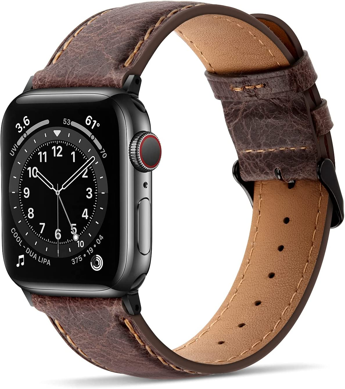 Tasikar Bands Compatible with Apple Watch Band 38mm 40mm Premium Genuine Leather Replacement Band Compatible with Apple Watch SE Series 6 5 4 (40mm) Series 3 2 1 (38mm) - Dark Brown