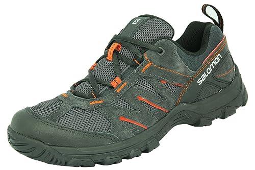 Salomon Karura Gris Suede Cuero Hombres Zapatos de Senderismo Contagrip, Color Negro, Talla 14