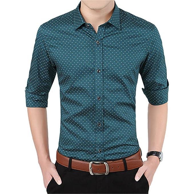 Amazon.com: nanshichenyi Otoño hombres ropa Slim Fit camisa ...